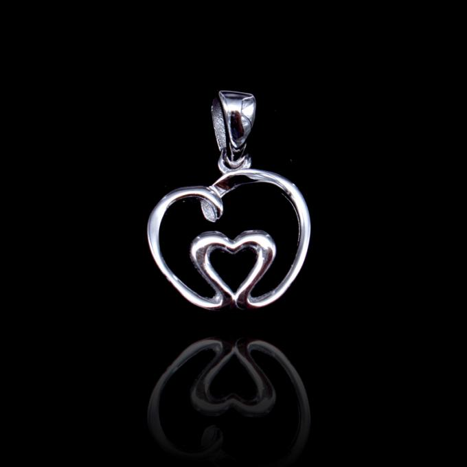Wedding Sterling Silver Heart Pendant / Solid Silver Pendant Without Stone