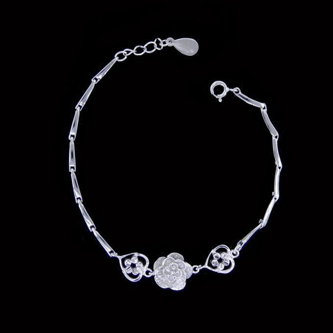 Girls Simple Silver Bracelet Flowers Design / Pure 925 Silver Bracelet Jewelry