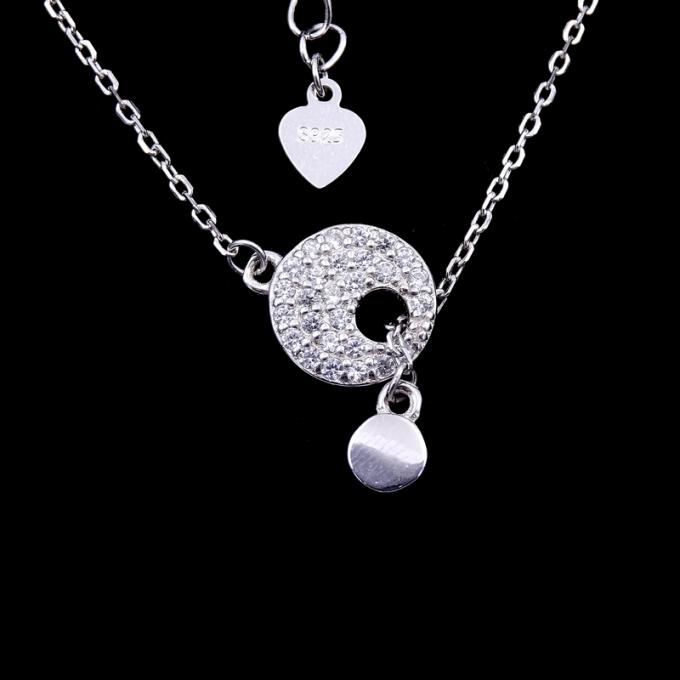 Customized Silver Pearl Necklace 925 Sterling Silver Jewellery With Hearts Shape