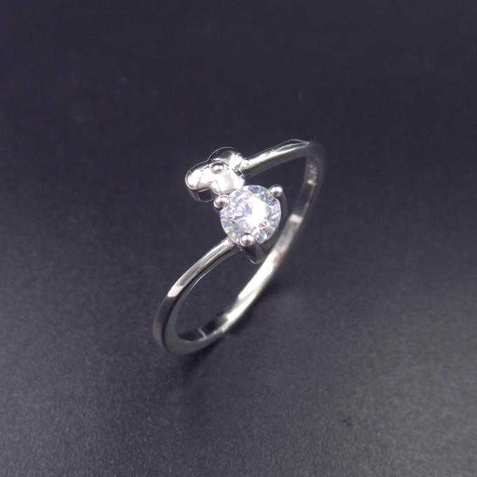 Personalized Silver Cubic Zirconia Rings Pure Silver Jewelers For Girls