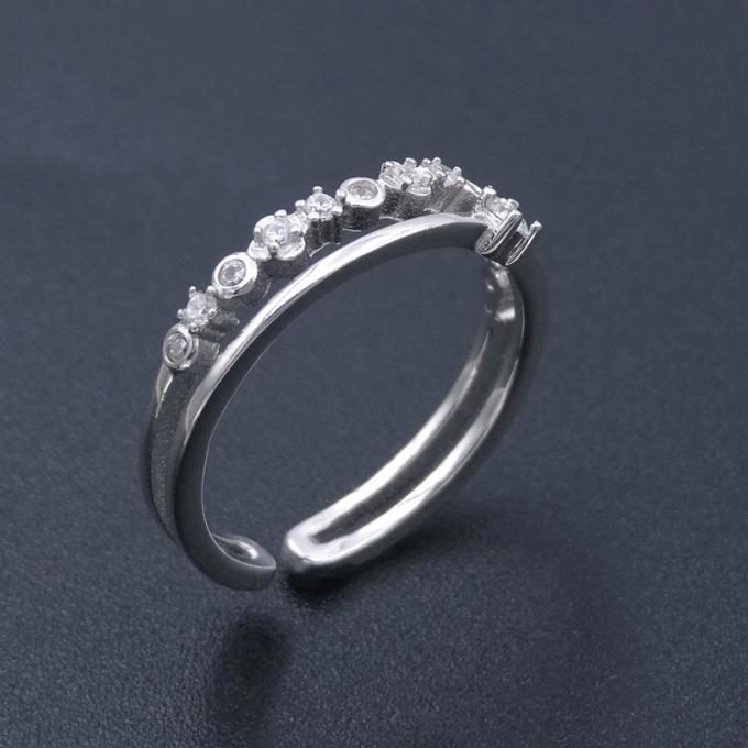 Round Big Cubic Zirconia Rings / Thinner Pure 925 Sterling Silver Solitaire Ring