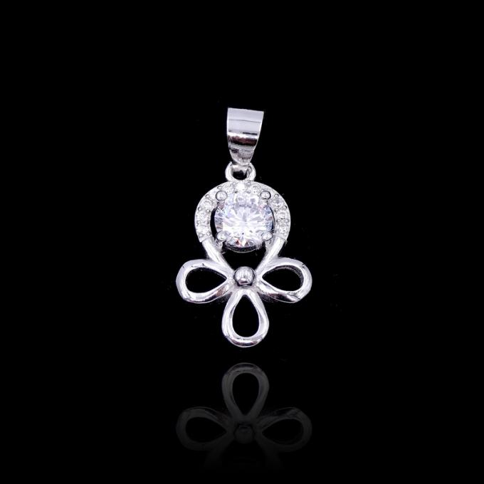 Luxury 925 Sterling Silver Cross Pendant Zircon Stone Italy Style For Christians