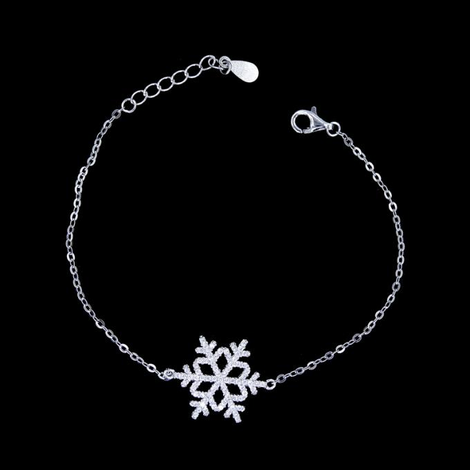 Simple S925 Silver Charm Bracelet Round Style / Customized Silver Chain Bracelet