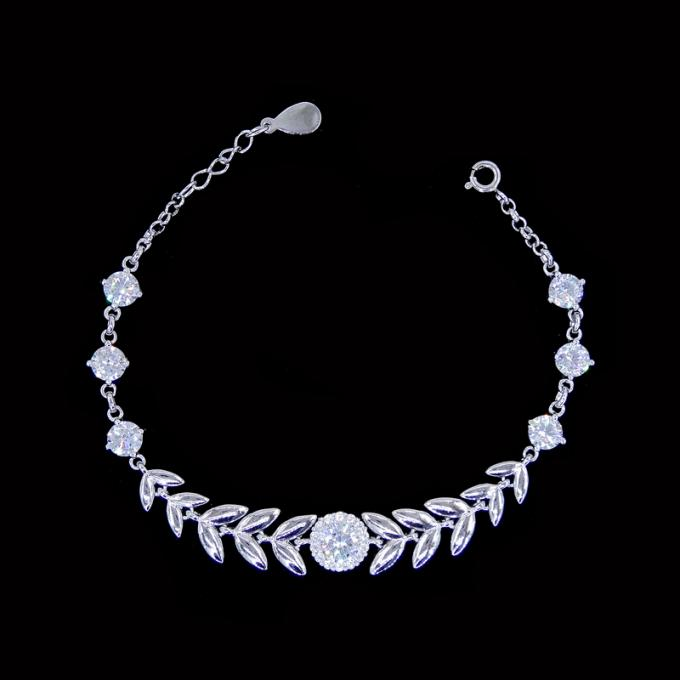 Two Chains Style 925 Silver Cubic Zirconia Bracelet Jewelry With Three Butterflies Items