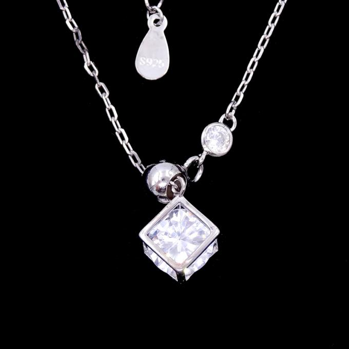 3D Heart Shape Cross Necklace Chain And Hanging Zircon Shining Stone Sterling Silver
