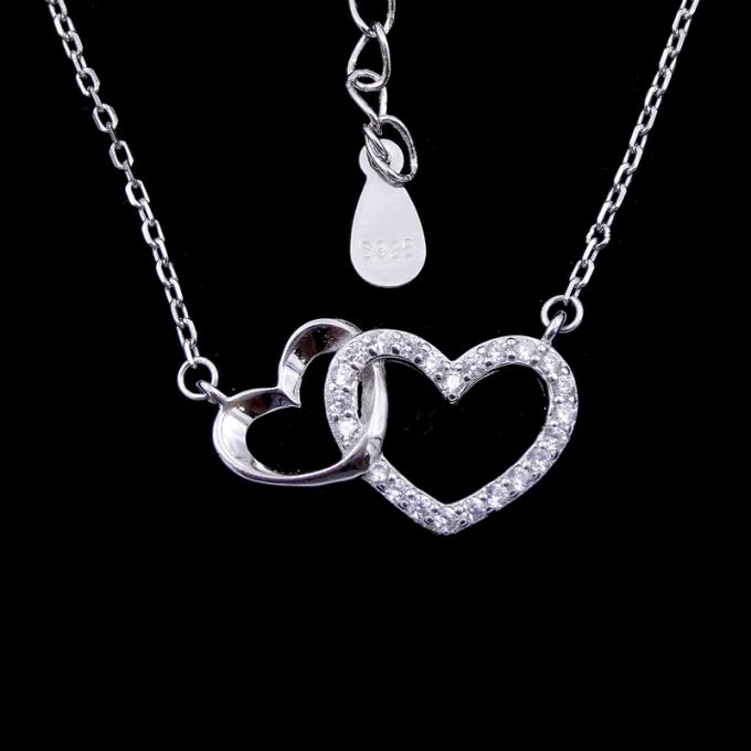3D Heart Shaped Necklace Cross Chain And Hanging Zircon Shining Stone Sterling Silver