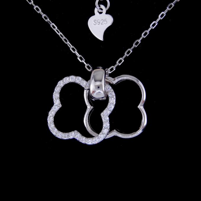 Shining Jewelry Silver Cubic Zirconia Necklace Four Leaf Clover Pendant Necklace