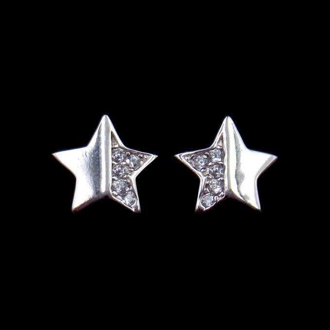 Anniversary Small 925 Silver Earrings With Five Pointed Flower Shape