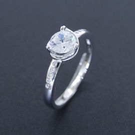 Luxurious Sterling Silver CZ Halo Ring Silver 925 One Stone For Wedding Bridal