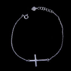 China Cross Shape Sterling Charm Bracelet / Thick Silver Bracelet For European factory
