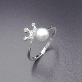 Imperial Crown Shape Silver Pearl Ring / 925 Freshwater Pearl Ring Silver Jewelry