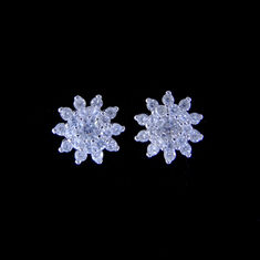 Personalized Silver Cubic Zirconia Earrings Fashion Jewelry With Flower Shape