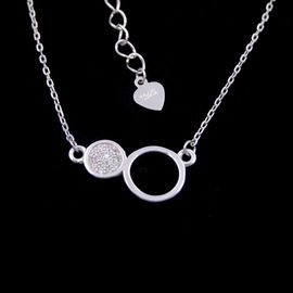 Elegant Design Sterling Silver Pendant Necklace 925 Two Round Shape