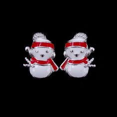 China Red / White Epoxy Children Silver Jewellery Plated Rhodium 925 Silver Smile Snowman factory