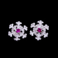 China Epoxy Stone Children Silver Jewellery , Silver Snowflake Earrings For Girls factory