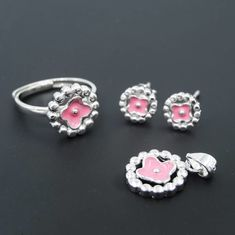 China European Style Round Pink Heart Jewelry Pure 925 Silver For Girls factory