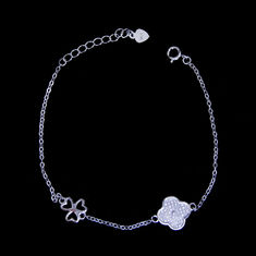 925 Silver Lucky Charm Bracelet Cubic With Three Leaf And Four Leaf Clover