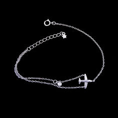 Pure 925 Silver Cubic Zirconia Bracelet Aircraft Plain Design For The Younger