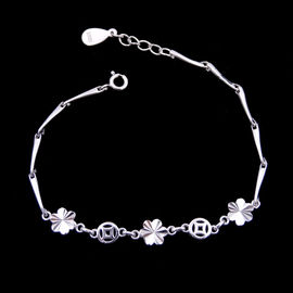 China Flowers Design Plain Silver Bracelet Pure 925 Anti Allergic For Gift / Party factory