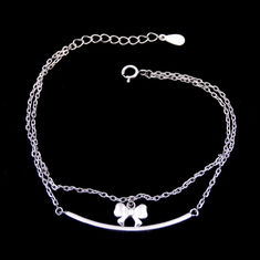 China Double Chains Plain Silver Bracelet Bow Rosettle Butterfly 925 Silver factory