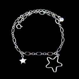 China Stars Shape Plain Silver Bracelet Silver Hollow Shining Special Gift Design factory