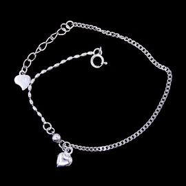 China Heart Shape Plain Silver Bracelet Plated Rhodium Vintage Jewelry factory