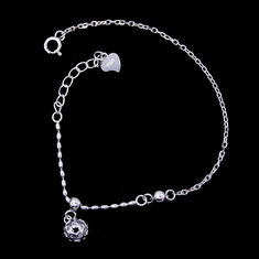 China Central Ball Shape Plain Sterling Silver Bracelet Elegant Plating Rhodium factory