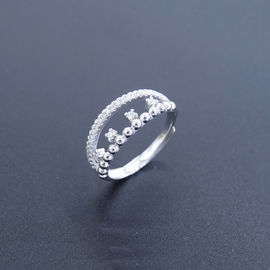 China Personalized Silver Cubic Zirconia Rings Pure Silver Jewelers For Girls factory