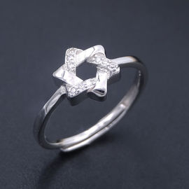 925 Charm Silver Cubic Zirconia Rings / Pentagram Shape Five Point Star Ring Jewelry