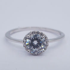 China Round Big Cubic Zirconia Rings / Thinner Pure 925 Sterling Silver Solitaire Ring factory
