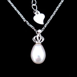 Sterling 925 Silver Pearl Necklace Chain With Imperial Crown Shape