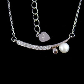 China European Silver Pearl Necklace / White Gold Freshwater Pearl Necklace 925 Silver factory