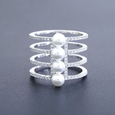 Four Layers Design Silver Pearl Ring Pure 925 Vintage Jewelry For Bigger Finger