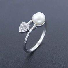 Girl White Gold Rings Jewellery / Real Silver 925 Heart Shaped Rings
