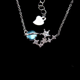 Saturn Galaxy Shape New Jewellery Design Glaze 925 Silver Rose Gold Necklace