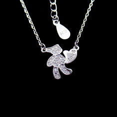 Lovely Teddy Bear Necklace with Heart Toy 925 Sterling Silver Cubic Zircon Jewelry