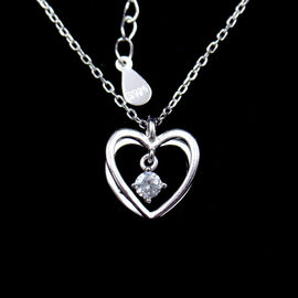 China 3D Heart Shaped Necklace Cross Chain And Hanging Zircon Shining Stone Sterling Silver factory