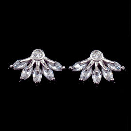 China Korean Style Sterling Silver 925 Flower Shaped Earrings Stud With AAA Zircon factory