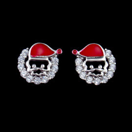 China Fashionable 925 Sterling Silver Jewelry Santa Claus Stud Earrings For Anniversary factory