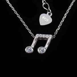 Cubic Zircon New Jewellery Design Shining Jewelry Notes Shape Evening Necklace