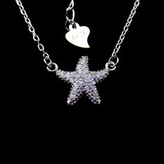 Cute Star Shape CZ Stone Jewelry / Customized 925 Silver Silver Kids Necklace