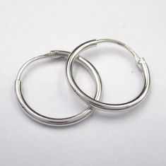 Sterling Silver 925 Rhodium Plated  Hoop Earring