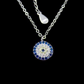 Fashion 925 Sterling Silver Mens Chain , Single Cubic Zirconia Necklace