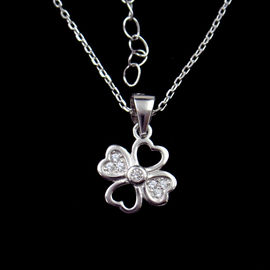 Luxury Cubic Zirconia Solitaire Necklace / Flower CZ Stone Necklace