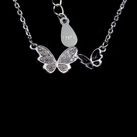 China Butterfly 925 Sterling Silver Curb Chain , Cute Cubic Zirconia Drop Necklace factory