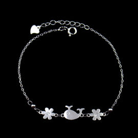 Unique Design Silver Cubic Zirconia Bracelet With Whale And Flower
