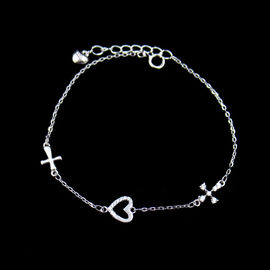 Cross Sterling Silver Heart Bracelet / Lightweight 925 Silver Chain Bracelet