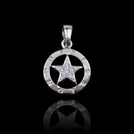 China Star Style Silver Cubic Zirconia Pendant For Anniversary , Engagement factory