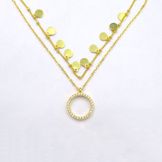 China good quality Zircon Luxury Plated 14K Gold Pendant Necklace with Round Shaped and Little Item Design 925 Silver Jewelry on sales