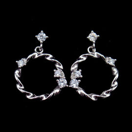 China Circle Type 925 Silver Earrings With AAA Grade Cubic Zirconia Stone factory